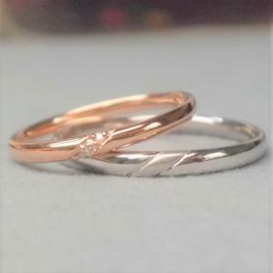 結婚指輪マリッジリングペアリングK10 ピンクゴールドレディース ホワイトゴールドメンズ