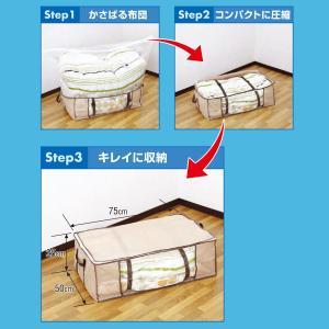 圧縮プラス ふとん用 4箱 圧縮袋 in BOX‐圧縮Plus 圧縮袋+収納ケース 一体型 布団 洋服 逆止弁 掃除機〈送料無料〉|kurazo|02