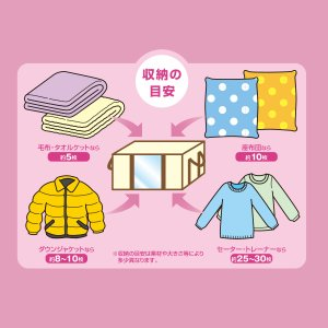 圧縮プラス 衣類用 2箱 圧縮袋 in BOX‐圧縮Plus 圧縮袋 +収納ケース 一体型 洋服 逆止弁 掃除機|kurazo|03