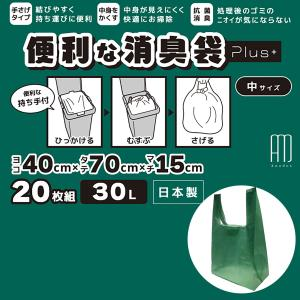 テレビで好評 消臭 ゴミ袋 オムツ処理  約30L 20枚組 日本製-取っ手付き 生ごみ袋 キッチン オムツ ペット 脱臭 M SPP-10133|kurazo