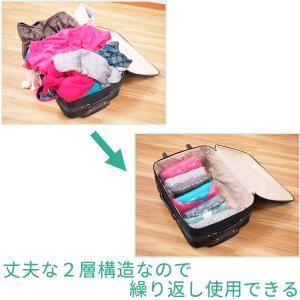 衣類圧縮袋 8枚セット Lサイズ 旅行 トラベル 逆止弁付き 手押し 日本製 巻くだけ 押すだけ 衣類収納袋 圧縮袋 海外旅行 国内旅行|kurazo|10