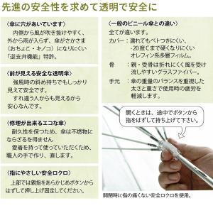 十六夜桜(いざよいさくら) 手開き長傘(収納用袋付)16本骨‐ホワイトローズ社 最高級透明傘 丈夫なビニール傘 風に強い 軽量 女性用|kurazo|06