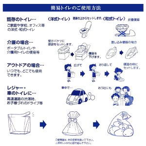 簡易トイレ 30回分(10枚組) 凝固剤(シートタイプ)‐非常用 防災用 災害用 洋式 水洗 緊急時 介護用 消臭 抗菌|kurazo|03