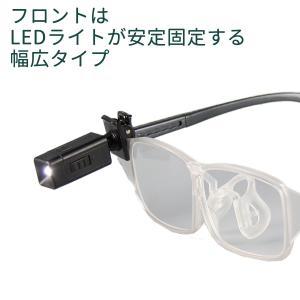 メガネ型 拡大鏡 LEDライト付-両手が使える 眼鏡の上から クリップ式LEDライト付 拡大率1.6倍 クリアレンズ 男女兼用 老眼鏡 ルーペ 作業用 手元明るく|kurazo|03