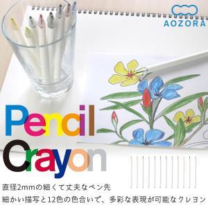 ペンシルクレヨン(Pencil Crayon)12色‐クレヨン 極細 塗り絵 繊細 色鉛筆 画材 色...