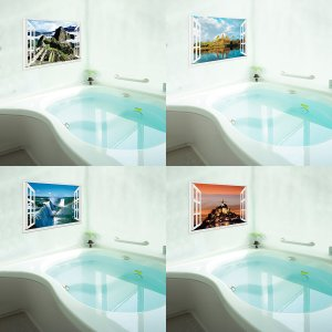 お風呂のポスター 世界遺産‐マチュピチュ アンコールワット イグアスの滝 モンサンミッシェル|kurazo|06