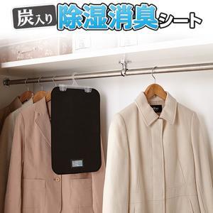炭入り 除湿消臭シート 2枚組 Y-114‐フックハンガー付き 消臭剤 クローゼット 衣装ケース|kurazo