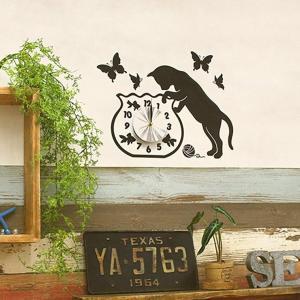 ウォール クロック ステッカー‐時計 壁掛け シール 壁紙 ウォールステッカー 猫 ねこ キャット Wall Clock Sticker kurazo 11