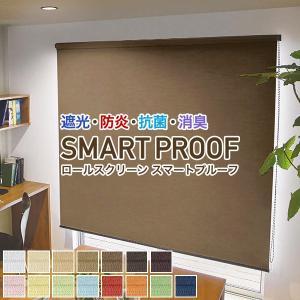 ロールスクリーン SMART PROOF 遮光 防炎 抗菌 消臭 目隠し サイズ:51〜80(幅)×10〜80(丈)cm|kurenai