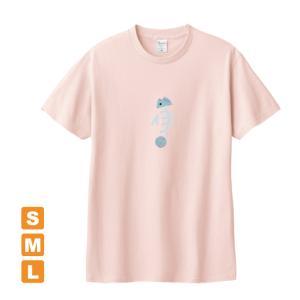 おいしい魚 ライトピンク アトリエmimaRe オリジナルイラストプリント 半袖 Tシャツ|kuriten