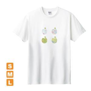 かわいいりんご 白 アトリエmimaRe オリジナルイラストプリント 半袖 Tシャツ|kuriten