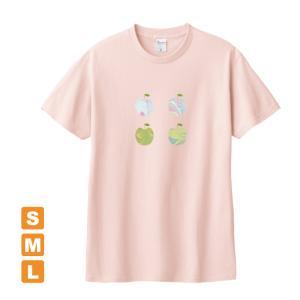 かわいいりんご ライトピンク アトリエmimaRe オリジナルイラストプリント 半袖 Tシャツ|kuriten