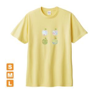 かわいいりんご ライトイエロー アトリエmimaRe オリジナルイラストプリント 半袖 Tシャツ|kuriten