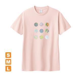 かわいいドット ライトピンク アトリエmimaRe オリジナルイラストプリント 半袖 Tシャツ|kuriten