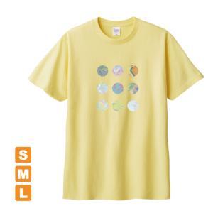 かわいいドット ライトイエロー アトリエmimaRe オリジナルイラストプリント 半袖 Tシャツ|kuriten