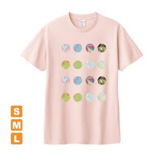 もっとかわいいドット ライトピンク アトリエmimaRe オリジナルイラストプリント 半袖 Tシャツ|kuriten
