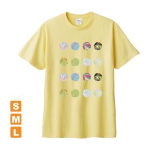 もっとかわいいドット ライトイエロー アトリエmimaRe オリジナルイラストプリント 半袖 Tシャツ|kuriten