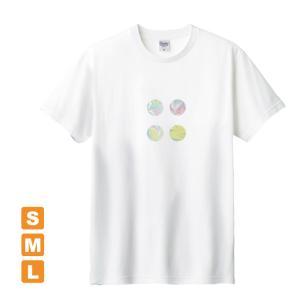 かわいらしいドット 白 アトリエmimaRe オリジナルイラストプリント 半袖 Tシャツ|kuriten