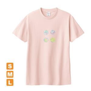 かわいらしいドット ライトピンク アトリエmimaRe オリジナルイラストプリント 半袖 Tシャツ|kuriten