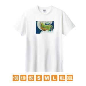 風の鶏 白 おかしなせかい オリジナルイラストプリント 半袖 Tシャツ kuriten