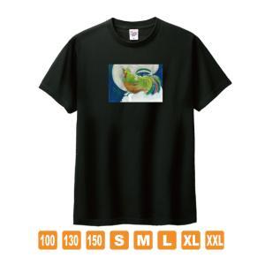 風の鶏 黒 おかしなせかい オリジナルイラストプリント 半袖 Tシャツ kuriten