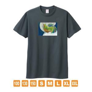 風の鶏 デニム おかしなせかい オリジナルイラストプリント 半袖 Tシャツ kuriten