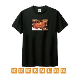 雷の鶏 黒 おかしなせかい オリジナルイラストプリント 半袖 Tシャツ kuriten