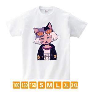 ミケ ホワイト サナダシン オリジナルイラスト Tシャツ 半袖|kuriten