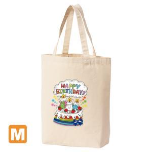 「お誕生日のロウソクさん」 Mサイズ キャンバストートバック ナチュラル ユコ イラストプリント|kuriten