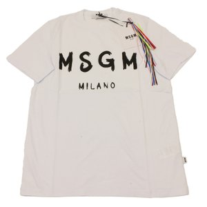 MSGM エムエスジーエム / 3040MM97 / シャツ / メンズ Tシャツ ロゴTシャツ / おしゃれ / 白 ホワイト / 服 半袖 ペイント ロゴT|kuriya-house