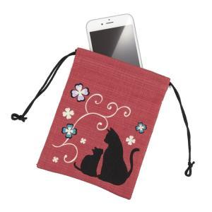 大切なものの持ち運びに、スマートフォンもしっかり入るサイズの巾着です。