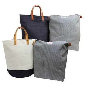 ランドリートートバッグ バッグinバッグ 帆布 キャンバス デニム 本革 旅行 大きめ 無地 日本製 |kurodan-depot