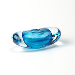 ハンドメイド テーブルウェア 食卓 日本製 記念品 お祝い プレゼント ガラス 「楕円花器カラー(ブルー)」|kurokabe