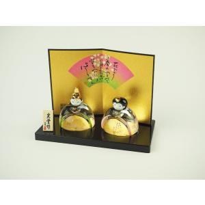 ガラスのお雛様 雛人形 ひなまつり 節句 ギフト 「2309 彩絵玻璃座雛(桜飾り)」|kurokabe