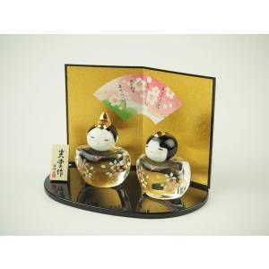 ガラスのお雛様 雛人形 ひなまつり 節句 ギフト 「2587 彩絵玻璃桜雛」|kurokabe
