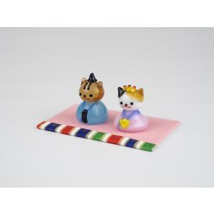 ガラスのお雛様 雛人形 ひなまつり 節句 ギフト 「ねこ雛」|kurokabe