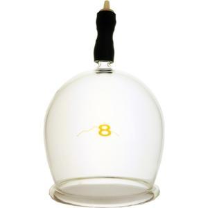 霧島ガラス玉 8号です。直径約8cm 材質 耐熱硬質ガラス 吸引弁付き完成品  霧島黒酢のカッピング...
