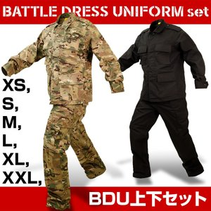 サバゲー迷彩服上下セット BDU上下セット 大きめサイズ カモフラ ブラック 黒|kusunokishop
