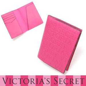 ヴィクトリアシークレット Victoria's Secret エンボスロゴ ホットピンク パスポート ケース|kusunokishop