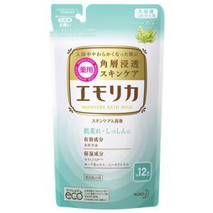花王 エモリカ 薬用スキンケア入浴液 ハーブの香り つめかえ用 (360mL) 詰め替え用 入浴剤 医薬部外品|kusurinofukutaro