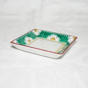 手描き 九谷焼 和洋食器 白梅文様三寸角皿|kutani-bitouen