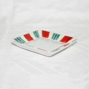 手描き 九谷焼 和洋食器 縞文様三寸角皿|kutani-bitouen