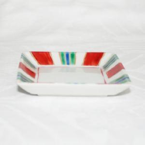 手描き 九谷焼 和洋食器 縞文様三寸角皿|kutani-bitouen|02