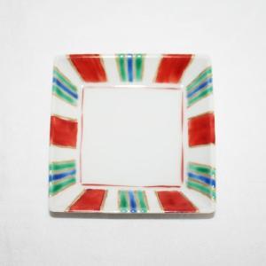 手描き 九谷焼 和洋食器 縞文様三寸角皿|kutani-bitouen|03