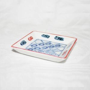 手描き 九谷焼 染入さらさ文様三寸角皿|kutani-bitouen