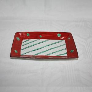手描き 九谷焼 和洋食器 赤絵水玉文八寸長皿|kutani-bitouen