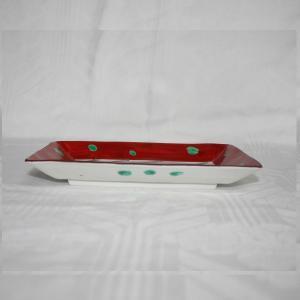 手描き 九谷焼 和洋食器 赤絵水玉文八寸長皿|kutani-bitouen|02
