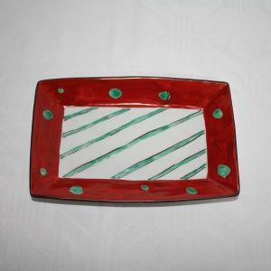 手描き 九谷焼 和洋食器 赤絵水玉文八寸長皿|kutani-bitouen|03
