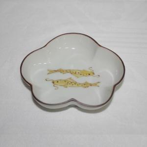 手描き 九谷焼 和洋食器 魯山人うつし 双魚文様松形三寸皿|kutani-bitouen