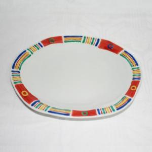 手描き 九谷焼 和洋食器 メキシカン文様八寸楕円皿|kutani-bitouen